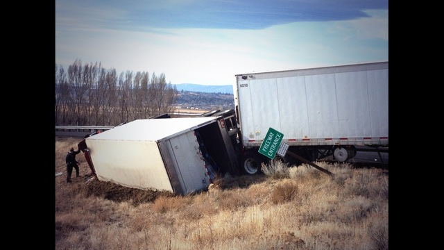 Semi Tips Over Near Selah