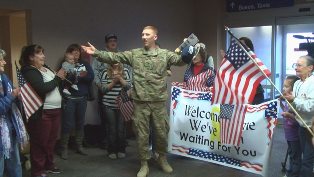 Supporters Welcome Local Soldier Home