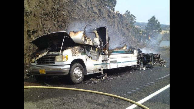 Motorhome Fire Briefly Closes Westbound Lanes of I-84 Near Mosier