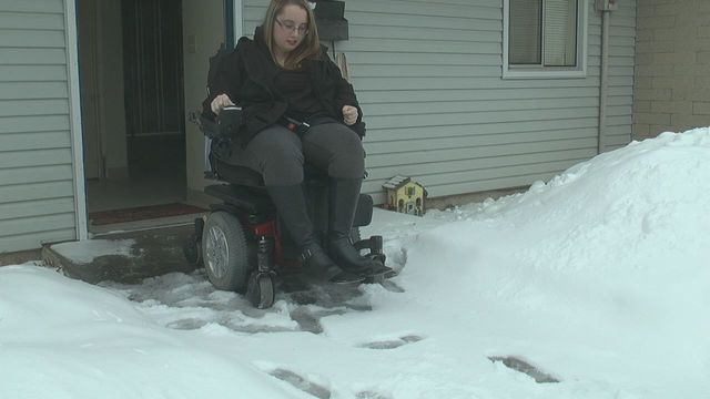 Disabled student can't leave home because of snow