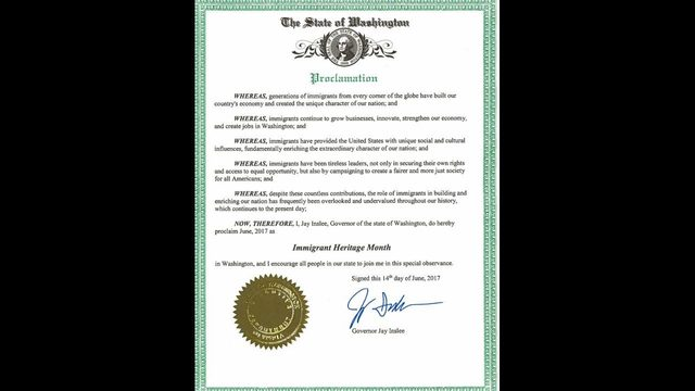 Gov. Inslee signs Immigrant Heritage Month proclamation